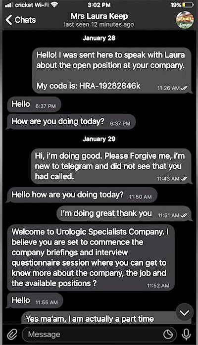 Fake job offer - text message
